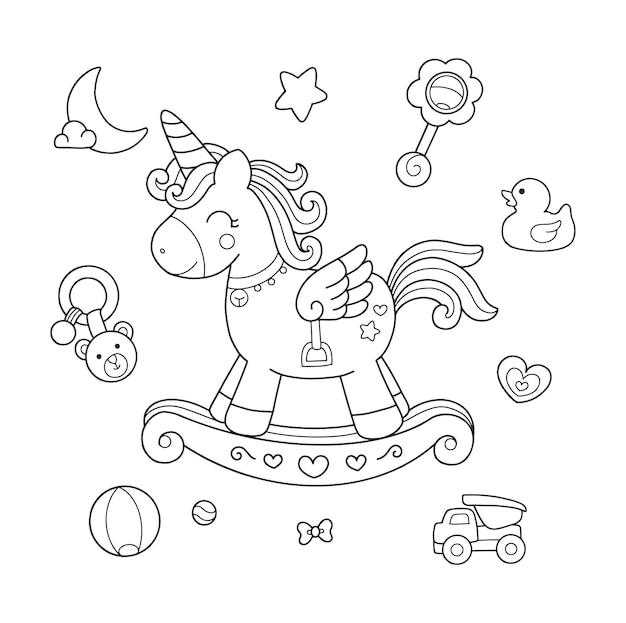 Cavalo de balanço de unicórnio fofo e brinquedos de bebê desenhando a ilustração da página para colorir