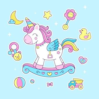 Cavalo de balanço de unicórnio fofo e ilustração de brinquedos de bebê