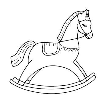 Cavalo de balanço para crianças, brinquedo, fofo clássico, ilustração vetorial de balanço de madeira