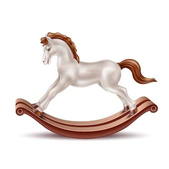 Cavalo de balanço realista brinquedo vintage