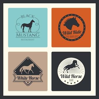 Cavalo de corrida retrô, executando o conjunto de logotipo de égua
