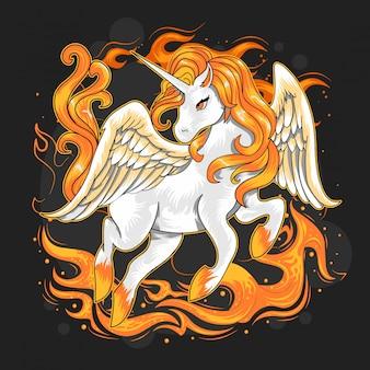 Cavalo de fogo unicórnio
