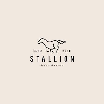 Cavalo de garanhão correndo corrida logotipo hipster vintage linha