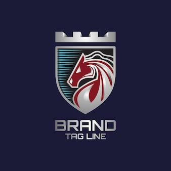Cavalo de luxo em modelo de logotipo escudo