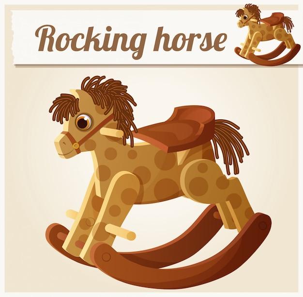 Cavalo de pau. ilustração em vetor dos desenhos animados