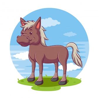 Cavalo dos desenhos animados com um fundo de página