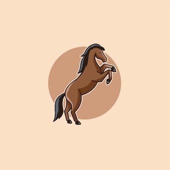 Cavalo dos desenhos animados salto ilustração logo vector.