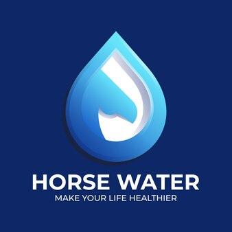 Cavalo e logotipo do ícone de gota d'água