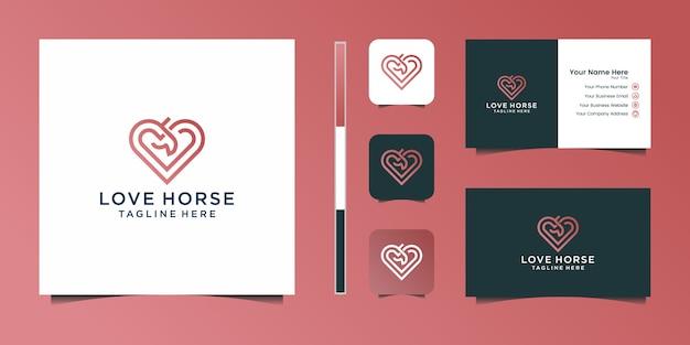 Cavalo elegante amor com design gráfico elegante e logotipo de design de luxo de inspiração de cartão de nome