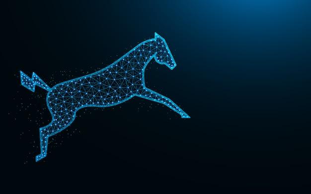 Cavalo elétrico poderoso em um design de baixo poli salto, imagem geométrica abstrata animal, ilustração em vetor poligonal malha zoo wireframe malha feita de pontos e linhas