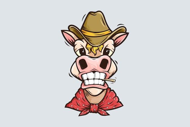 Cavalo engraçado vestindo bandana e modelo de logotipo de mascote de desenho animado