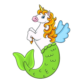 Cavalo fada e unicórnio sereia fofo