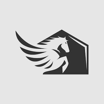 Cavalo fly logo design vector