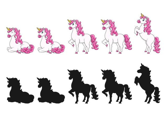 Cavalo mágico de fada unicórnio fofo personagem de desenho animado silhueta negra