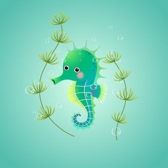 Cavalo-marinho bonito dos desenhos animados debaixo d'água no mar.