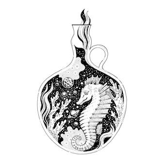Cavalo-marinho com corais, design surreal.