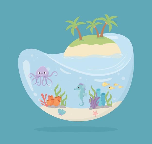 Cavalo-marinho de polvo ilha peixes água em forma de tanque de corais sob ilustração em vetor mar dos desenhos animados