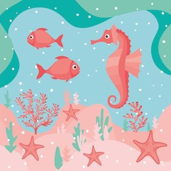 Cavalo-marinho e peixes nadando ambiente subaquático