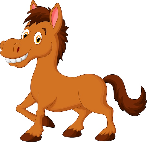 Cavalo marrom bonito dos desenhos animados