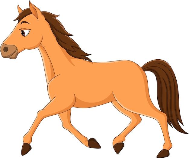 Cavalo marrom de desenho animado correndo sobre fundo branco