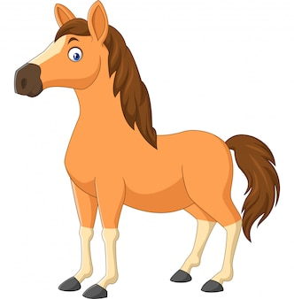 Cavalo marrom dos desenhos animados, isolado no branco