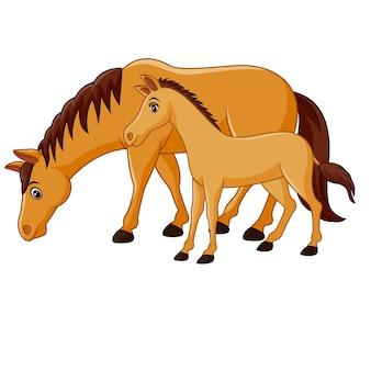 Cavalo marrom feliz dos desenhos animados com um potro