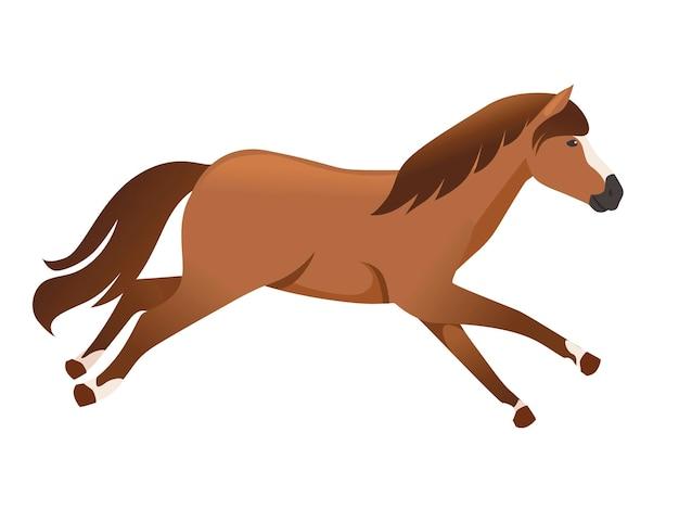 Cavalo marrom selvagem ou animal doméstico correndo desenho animado ilustração vetorial plana