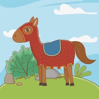 Cavalo medieval de conto de fadas