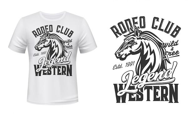 Cavalo mustang mascote garanhão de vetor com estampa de camiseta
