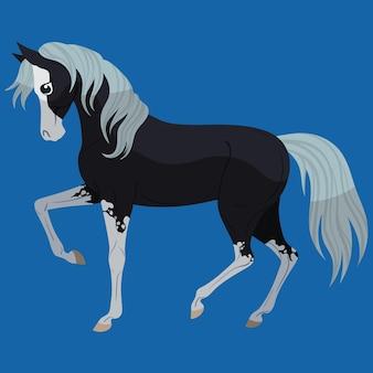 Cavalo preto fazendo exercícios de treinamento. ilustração em vetor isolada em fundo azul claro