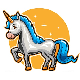 Cavalo unicórnio mascote animal em pé para ilustração vetorial de logotipo de esportes e esportes esportivos