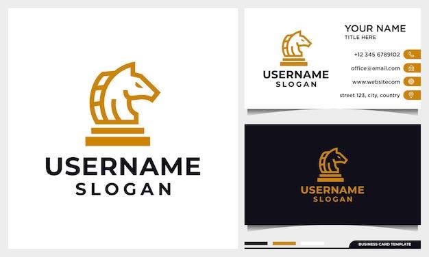 Cavalo, xadrez, design de logotipo de estratégia com estilo de arte de linha e modelo de cartão de visita