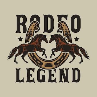 Cavalos de cowboy de rodeio com ferradura