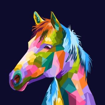 Cavalos de ilustração colorida em estilo de retrato pop art adequado para o design de cartazes