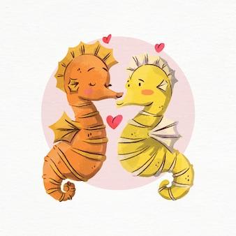 Cavalos-marinhos em aquarela do dia dos namorados apaixonados Vetor Premium