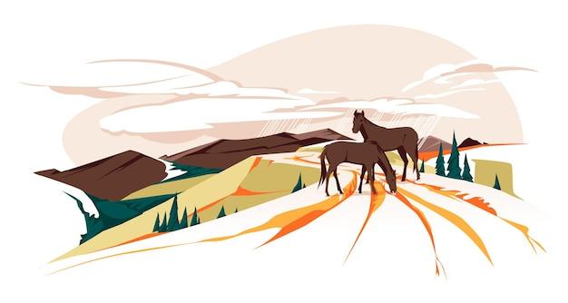 Cavalos selvagens pastando em uma estrada de montanha paisagem de outono ilustração em vetor plana a cores