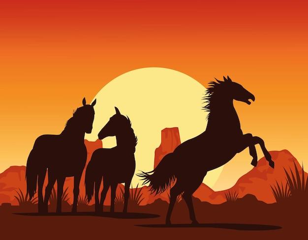 Cavalos, silhuetas de animais negros na paisagem deser
