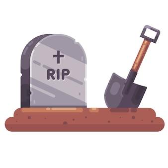 Cavando túmulos. lápide. negócios em um cemitério.