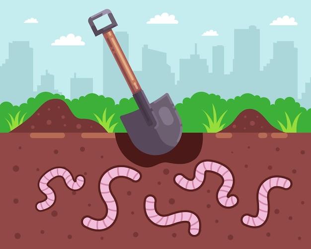 Cave minhocas para pescar. a pá cava um buraco. ilustração vetorial plana.