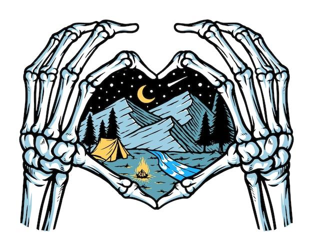 Caveira adora ilustração de montanhas