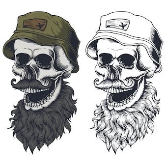 Caveira barba bigode usar ilustração de chapéu