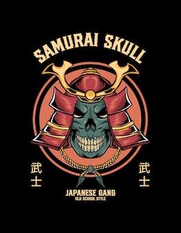 Caveira com cabeça de samurai
