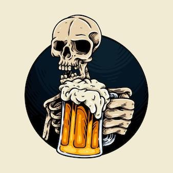 Caveira com ilustração de personagem de cerveja