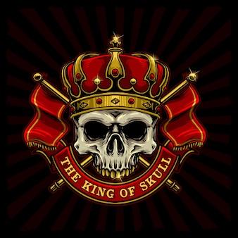Caveira com logotipo de bandeira do rei coroa e reino