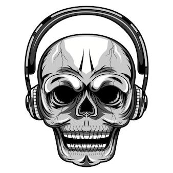 Caveira com logotipo de mascote de fone de ouvido