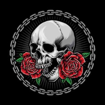 Caveira com logotipo de rosas