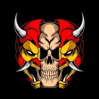 Caveira com máscara de demônio
