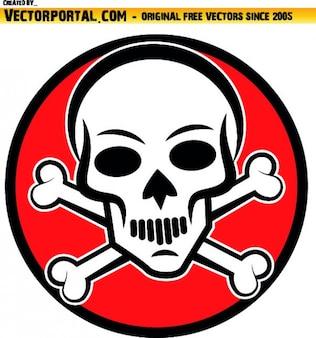 Caveira com ossos cruzados atrás no círculo vermelho