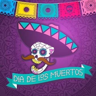 Caveira de açúcar mexicano, dia da ilustração morta