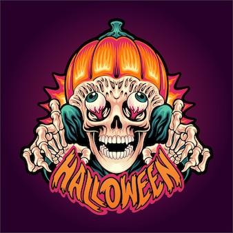 Caveira de halloween com cabeça de abóbora